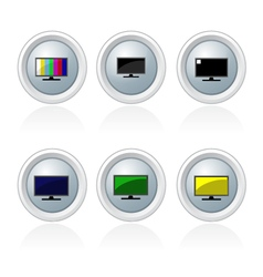 Set of televison banner and button vector image vector image