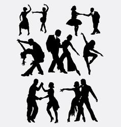 Tango salsa couple dancer silhouette vector