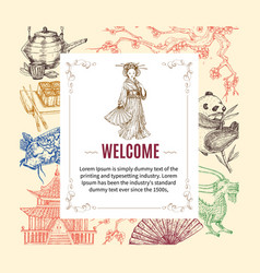 Welcome to asia invitation vector