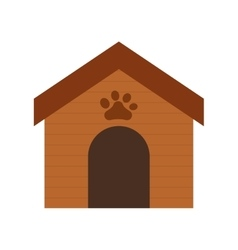 Wooden house dog paw print pet vector