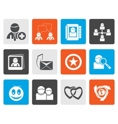 Flat internet community and social network icons vector