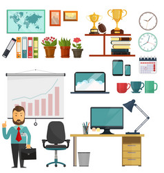 Office elements collection business education set vector