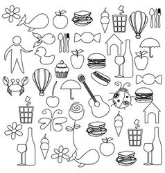 Sketch contour set elements daily life icon vector