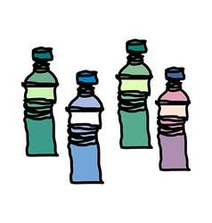 Four of bottles are placed vector