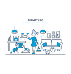 Hobbies activity entertainment kids games vector