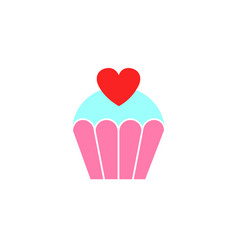Love cake with heart solid icon sweets vector