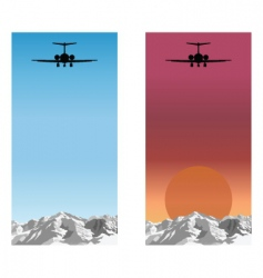 Airplane over mountain vector
