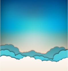 Background with decoration sun blue sky and clouds vector