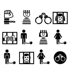 Prisoner crime slavery icons set vector