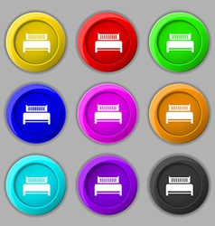 Hotel bed icon sign symbol on nine round colourful vector