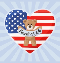 Us teddy bears for independence day vector