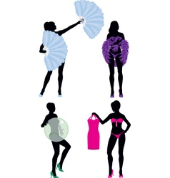 Burlesque women silhouettes collection vector