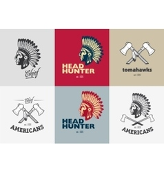 Set of american indian badges vector