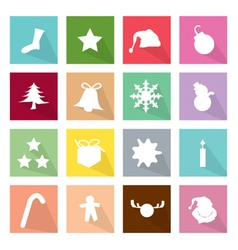 Set of 16 Merry Christmas Icons vector image