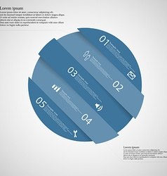 Circle motif askew divided to five blue parts on vector