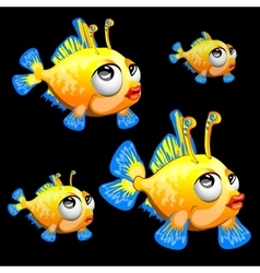 Sad yellow fish with antenna and blue fins toon vector