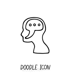 Doodle icon with human head symbol think and vector