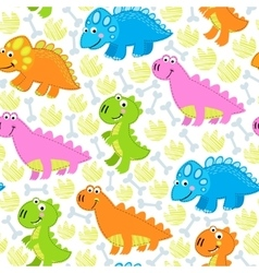 Dinosaur multicolored seamless pattern vector