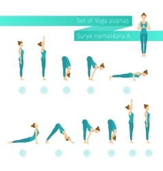 Yoga set in flat style vector