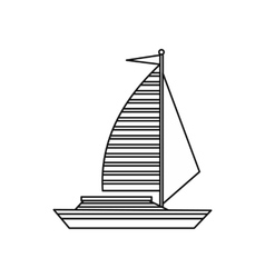 Yacht with sails icon outline style vector