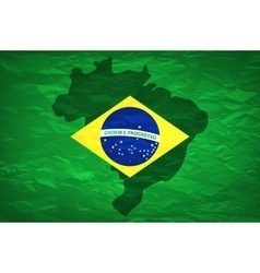Brazil map an old grunge flag of brazil state vector