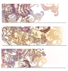 abstract floral brochures set with flowers vector image vector image