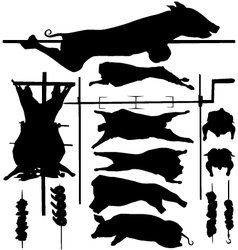 Barbecue BBQ related objects silhouettes vector image