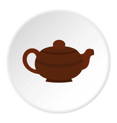 Brown chinese teapot icon circle vector