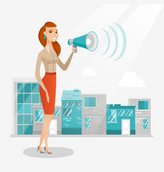 Business woman making public announcement vector