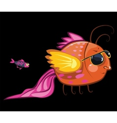 Cartoon characters cool fish wearing sunglasses vector
