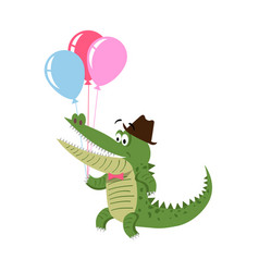 Cartoon crocodile with air balloon in hat isolated vector