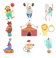 Circus Related Objects And Characters Set vector image