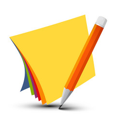 Colorful empty papers with pencil isolated on vector