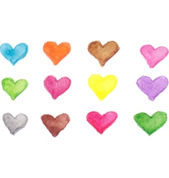 Colorful heart shape of watercolor vector