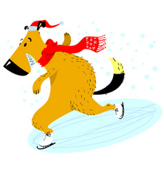 dog is skating christmas and new year pet vector image