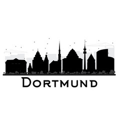 dortmund city skyline black and white silhouette vector image