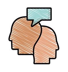 Drawing profile head dialog talking vector