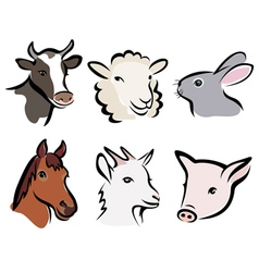 Farm animals icons vector