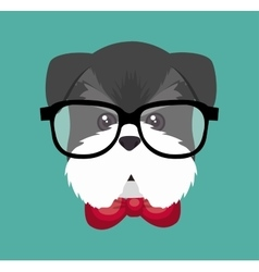 Hispter puppy glasses red bow vector