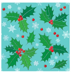 Holly christmas seamless pattern vector image