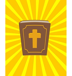 Holy Bible Big and old book with cross New vector image