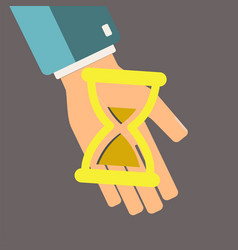 Hourglass in hand time is money concept save vector
