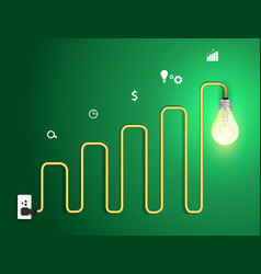light bulb abstract charts and graphs vector image vector image