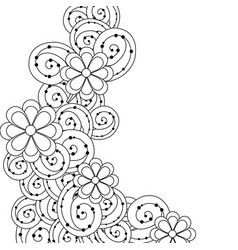 Line beauty flowers with leaves and ornamental vector