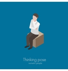 Man sitting on box vector image