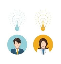 Mans and womans avatars with lighting bulb idea vector image vector image