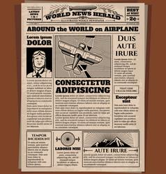Old newspaper vintage newsprint template vector