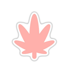 Paper sticker on white background cannabis vector