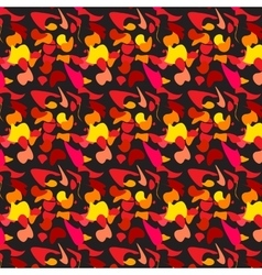 pattern yellow red black leaves waves vector image vector image