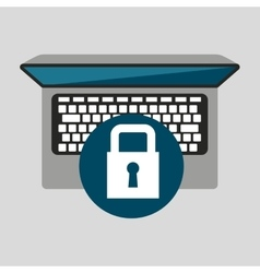 Person working laptop padlock social media graphic vector
